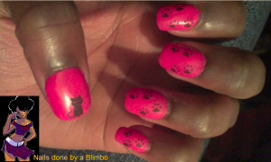Pink and black cat mani