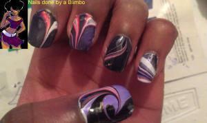 Pink,Black,Purple,White water marbeling