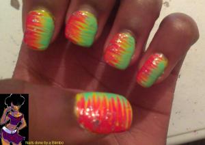 April 30 day nail art challenge day 22 neon