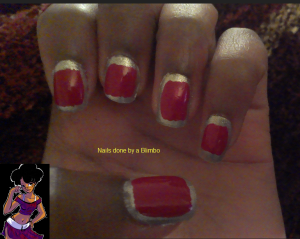 red and silver border mani
