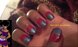 red week - red with blue glitter