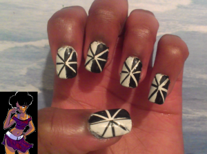 White and black tape mani