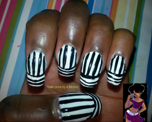 OMd nail art challenge day 4 Black and White