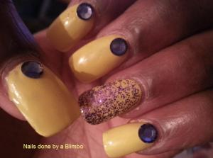 yellow and purple mani