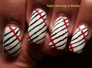 black white and red nails