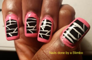 black, white, and pink border mani