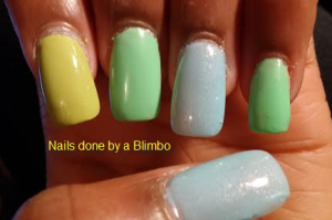 blue and green ombre left hand