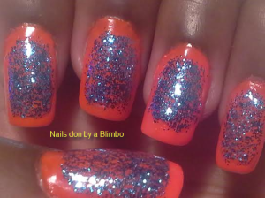 orange and blue glitter boarder mani