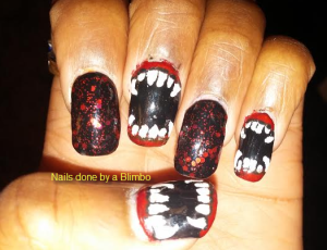 vampire nails with flash