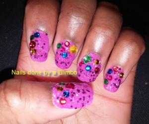 purple nails with rhinestones w flash