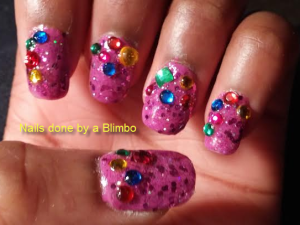 purple nails with rhinestones