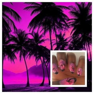 Purple and pink palm trees with walpaper