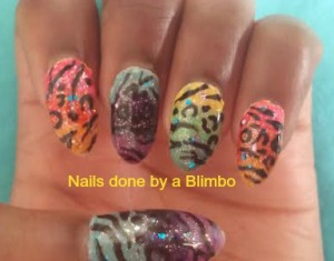 rainbow mani with animal print
