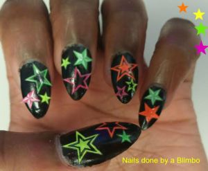 Neon stars over black polish