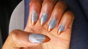 orange and gray mani